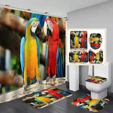 Colorful Parrot Shower Curtain Bath Mat Toilet Cover Rug Bathroom Decor
