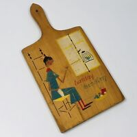 Vintage 1962 Nevco Wooden Cutting Board - Tuesday Mending - 14 inches (A)