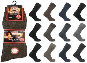 Mens Thermal Socks 2.3 TOG Cushioned Thick Wool Boot Sox Bulk Sock Lot Size 6-11
