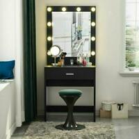 Makeup Vanity Dressing Table Set W/ Led Mirror Drawers Jewelry Organizers