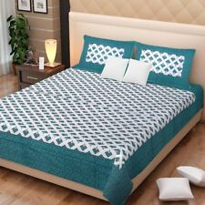 Indian Rajasthani Handmade Green Color Cotton Bed Sheet Two Pillow Covers Set