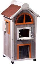 Großes Outdoor-Katzenhaus Katzenhütte  Katzenturm Katzenhöhle Holz wetterfest