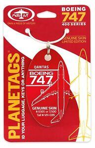 Planetags - Qantas Boeing 747-400 Tail # VH-OJN - RED - Genuine Skin