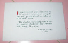 1960's Cbs Television Christmas Greetings William S. Paley Bonus Happy New Years