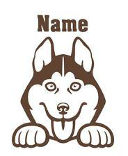 Husky Peeking with Name car window decal
