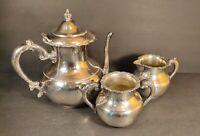 Antique~Vintage Victorian tea set Van Bergh S P Co.Quadruple Silverplate 3 piece