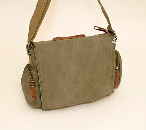 "New Large ""Air Supreme"" Strong Woven Canvas  Messenger Man Bag Black/Green/Brown"