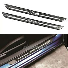 2Pcs JEEP Carbon Fiber Car Door Welcome Plate Sill Scuff Cover Decal Sticker