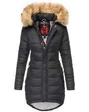 Navahoo Damen Winter Jacke Mantel Steppmantel Parka Lang Kunstfell Kapuze PAPAYA