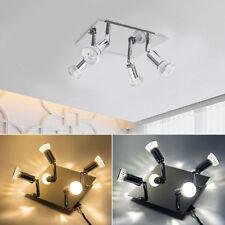 Lampadario Lampada da soffitto quadrato 4 faretti a LED in nichel satinato