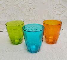 3 BORMIOLI ROCCO 6 OUNCE TUMBLER~JUICE GLASS~ AQUA BLUE GREEN ORANGE~ITALY