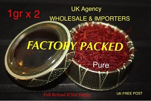 SAFFRON SPICE 2x1g %100 PURE METAL BOX BEST QUALITY GUARANTEED WHOLESALE PRICE