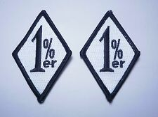 TWO Outlaw Biker 1%er Black and White 1%er  Patches 2 Patches!