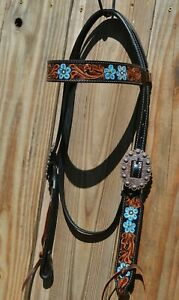 """Circle Y 5/8"""" 2021 Black Leather Hand Painted Blue Floral Browband Headstall"""
