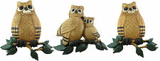 Homco 1976 Set of 3 Vintage OWL Wall Plaques 7403 B & 2 7403 A's Large Grouping