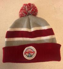 Philadelphia Phillies  Cabrini College Knit Beanie Red Gray Grey White-Used