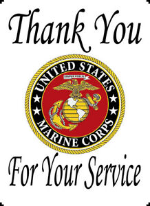 """US Marine Corps Thank You For Your Service 8x10"""" Cotton Quilting Block Panel"""