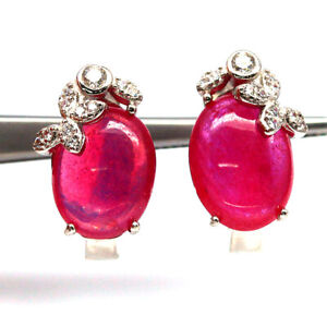 NATURAL 8 X 10 mm. PINK RUBY & WHITE CZ 925 STERLING SILVER EARRINGS