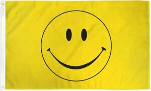 PringCor 3x5FT Flag Yellow Happy Smiley Face Banner Dorm Bedroom Advertising USA