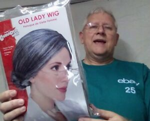 Old Lady Wig granny bun older adult grand mama theatrical fun costume stage hair