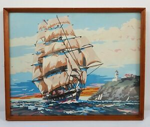 Vintage Framed Tall Ship Picture Seascape Lighthouse 50s/60s nautical 48x39cm
