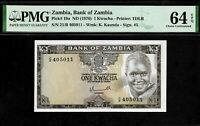 Zambia 1 Kwacha 1976 PMG 64 EPQ UNC   P# 19a Printer : TDLR