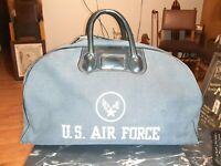 """AWSOME Vintage U S. Air Force Canvas Handbag Bag Blue Logo 19""""L 11""""T 9.5W School"""