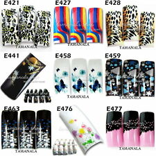70 Pcs Pre-Design False French Acrylic Nail Art Tips Airbrush Pattern Random