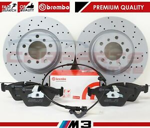 FOR BMW M3 E46 3.2 FRONT PERFORMANCE DRILLED BRAKE DISCS BREMBO PADS WEAR SENSOR
