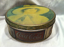 Collectible Vintage 1980's Coca Cola Round Tin Can For Trinkets Or Sewing Stuff