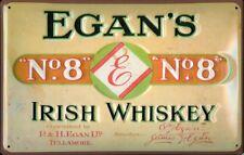 EGANS IRISH WHISKEY Vintage Metal Pub Sign | 3D Embossed Steel | Home Bar