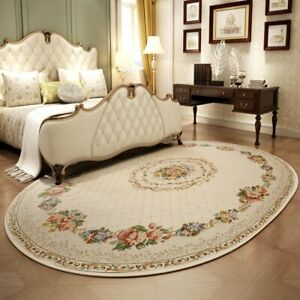 Pastoral Oval Carpets for Living Room Home Bedroom Rugs and Carpets Coffee Table