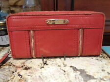 MICHAEL KORS RED LEATHER ZIP AROUND CONTINENTAL MOXLEY WALLET