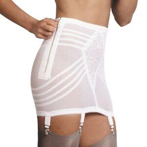 Rago Shapewear Firm Control Side Zip Open White Garter Girdle Size 32/XL