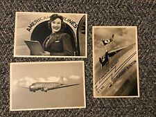 1930's American Airlines Postcard DC-3 Plane W/ Stewardess US Mail Lot Of 3