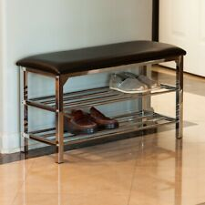 Danya B Black Leatherette Storage Entryway Bench with Chrome Frame - HA83168