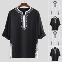 Men Women 3/4 Sleeve Kaftan African Mexican Hippy Poncho Casual Top T-Shirt Tee