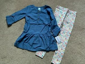 NWT Carters Kids Little Girls 2 pc Outfit - Floral Leggins/Chambray Shirt - 4/5