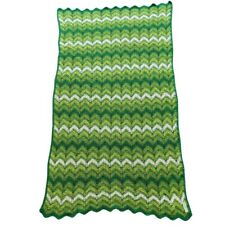 "Vtg Handmade Blanket Afghan Throw Crochet Green Ripple Pattern 34 1/2"" by 60"""