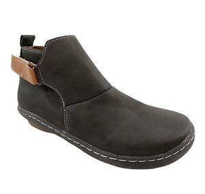 Women's Lightweight Chukka Dark Gray Loop Strap Side Zip Ankle Boots Size 7