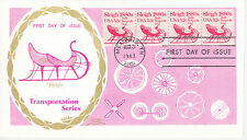 FIRST DAY COVER FDC 1983 SLEIGH 1880's TRANSPORTATION SERIES COLONIAL CACHETS