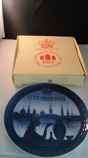 Royal Copenhagen Denmark 1975 Blue & White Jubilee Plate with Box