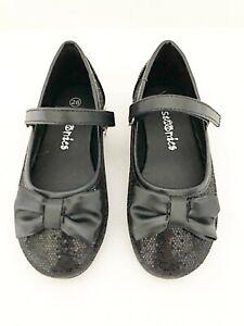 New Girls Stoonies Black Glitter Ballet Pumps Party Shoe UK Sizes
