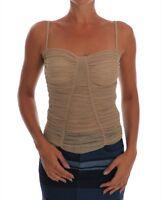 NEW $760 DOLCE & GABBANA Top Cami Tank T-shirt Beige Stretch s. IT38 / US4 / XS