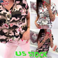 Women Short Sleeve Blouses Ladies Summer Casual V Neck Loose Tops T Shirts Tunic