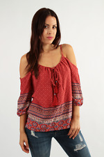 SAVE $20 Red Boho Tunic Top   Cold Shoulder S M L Iris IT8174