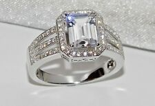 STERLING SILVER 2.25ct EMERALD CUT LADIES COCKTAIL / ENGAGEMENT RING size O
