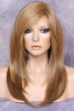 Silky straight Wig Long Razor cut layers bangs Blonde lit brown mix 2216 NWT OCL