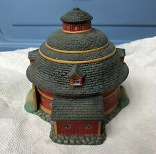 """1998 Lang & Wise Town Hall Collectibles """"Red Round Barn"""" Linda Nelson Stocks"""