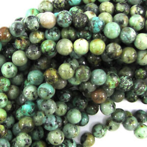 """Natural African Turquoise Round Beads 15.5"""" Strand 4mm 6mm 8mm 10mm 12mm"""